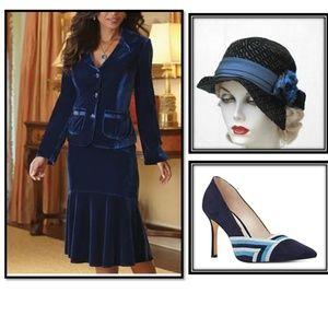 Midnight Velvet, Blue Velvet Skirt Suit